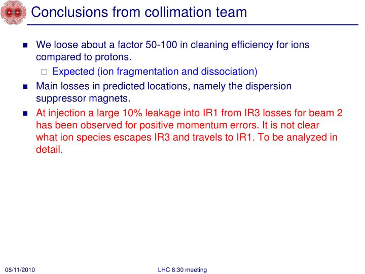 Conclusions from collimation team