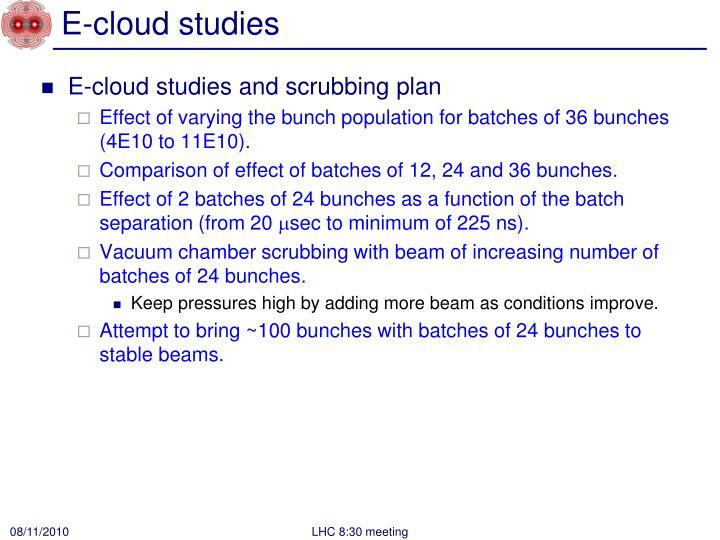 E cloud studies