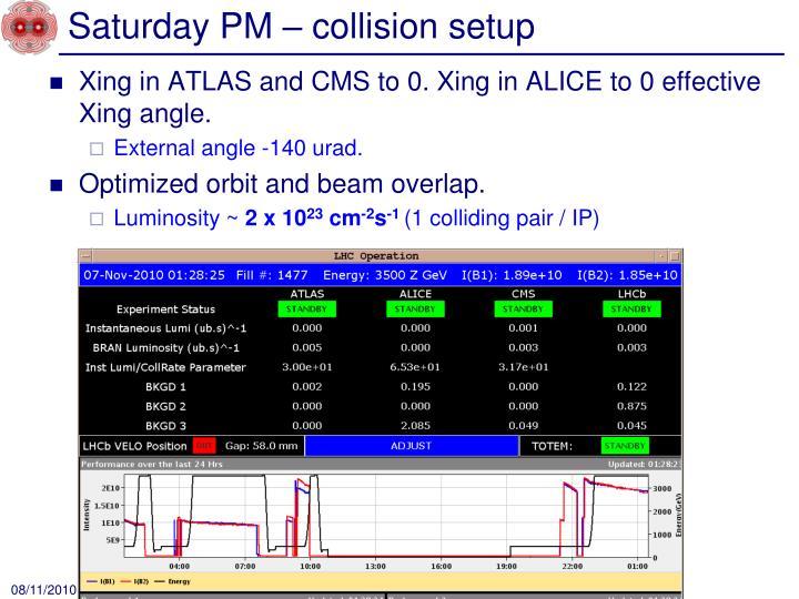 Saturday PM – collision setup