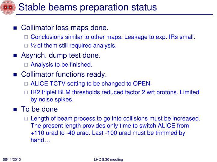 Stable beams preparation status