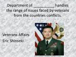 department of handles the range of issues faced by veterans from the countries conflicts