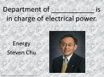 department of is in charge of electrical power