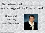 department of is in charge of the coast guard