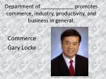 department of promotes commerce industry productivity and business in general