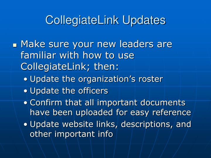 CollegiateLink Updates