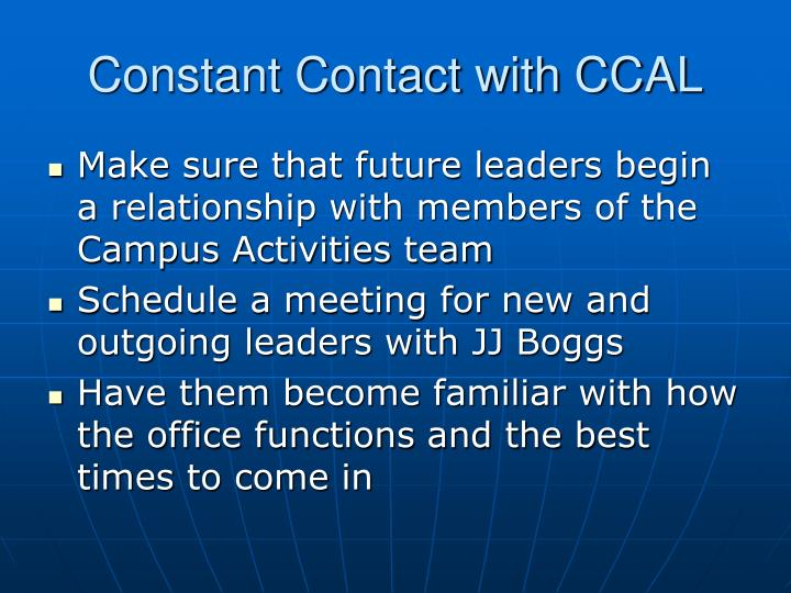 Constant Contact with CCAL