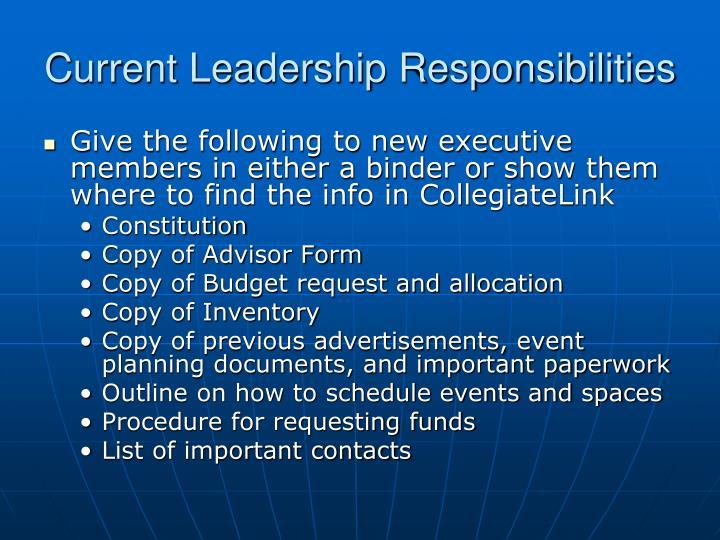 Current Leadership Responsibilities
