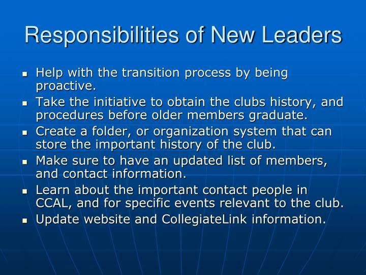 Responsibilities of New Leaders