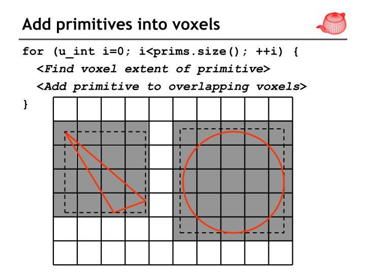 Add primitives into voxels