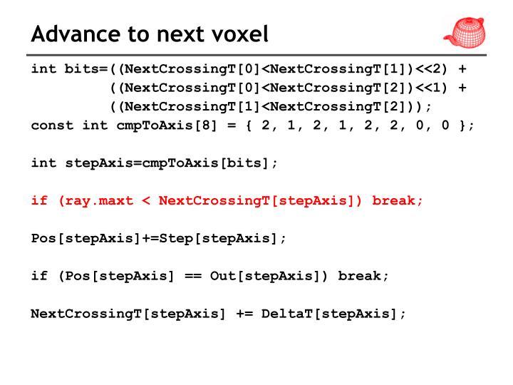 Advance to next voxel
