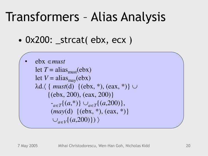 Transformers – Alias Analysis