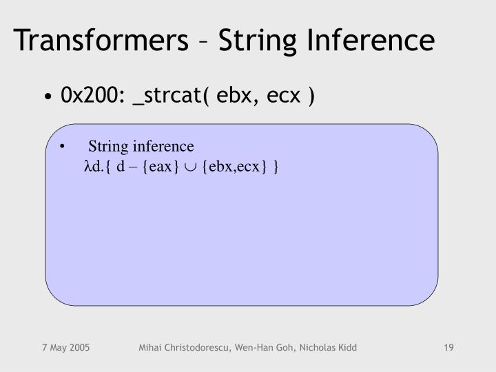 Transformers – String Inference
