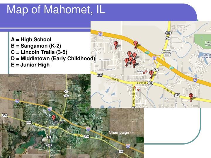 Map of Mahomet, IL