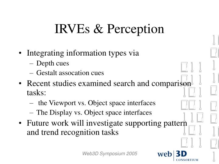 IRVEs & Perception