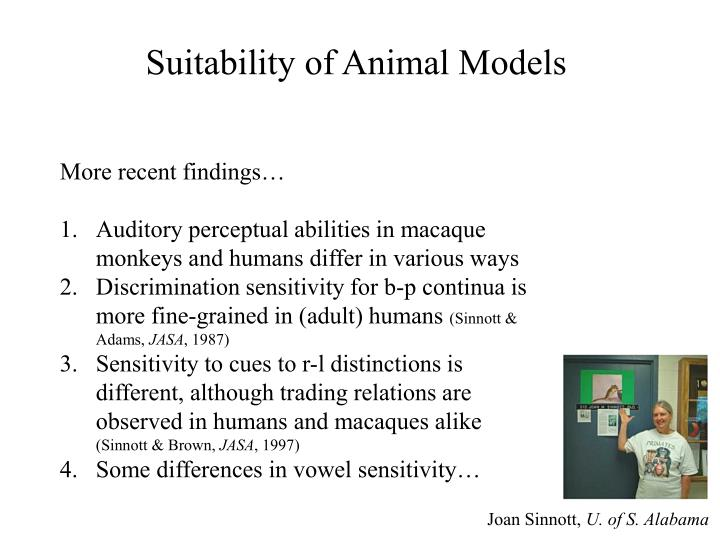 Suitability of Animal Models