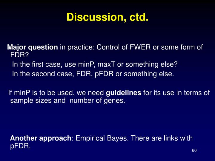 Discussion, ctd.