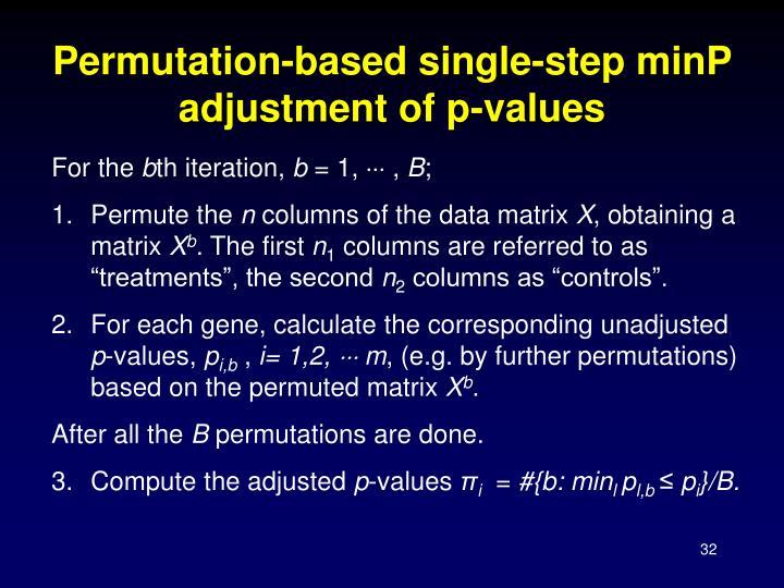 Permutation-based single-step minP adjustment of p-values