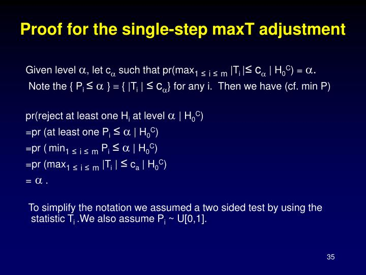 Proof for the single-step maxT adjustment