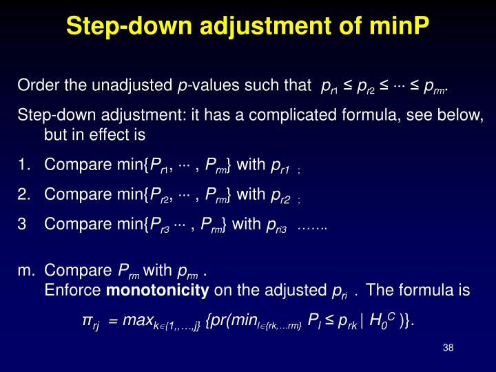 Step-down adjustment of minP
