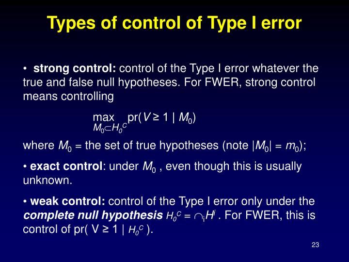 Types of control of Type I error