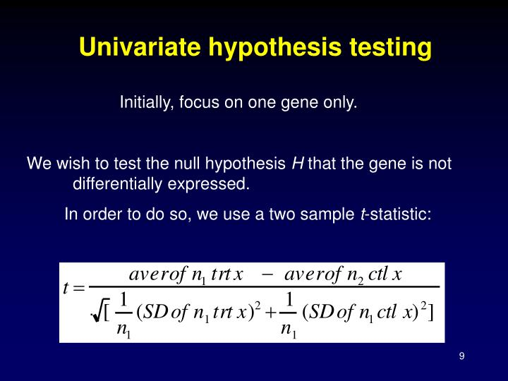 Univariate hypothesis testing