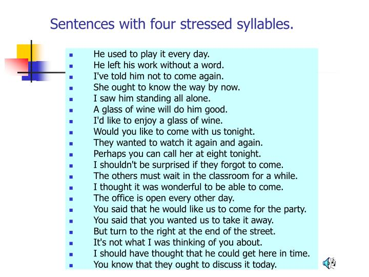 Sentences with four stressed syllables.