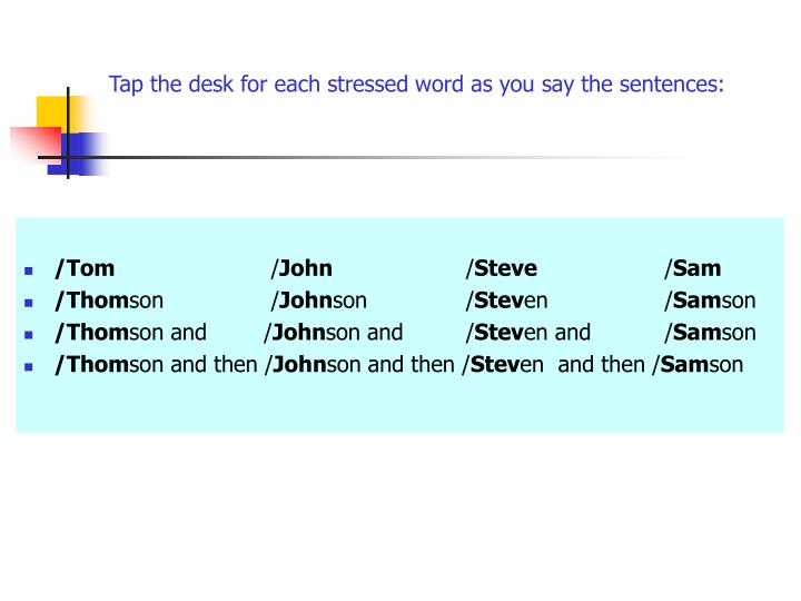 Tap the desk for each stressed word as you say the sentences: