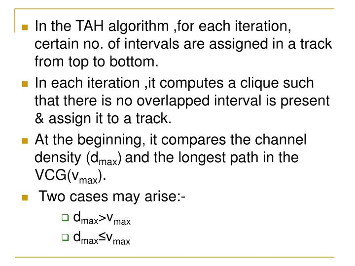 In the TAH algorithm ,for each iteration, certain no. of intervals are assigned in a track from top to bottom.