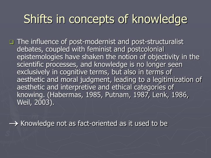 Shifts in concepts of knowledge