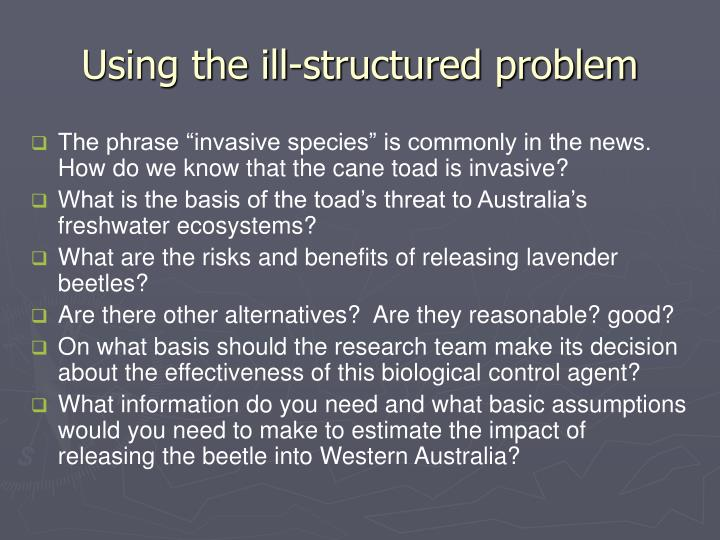 Using the ill-structured problem