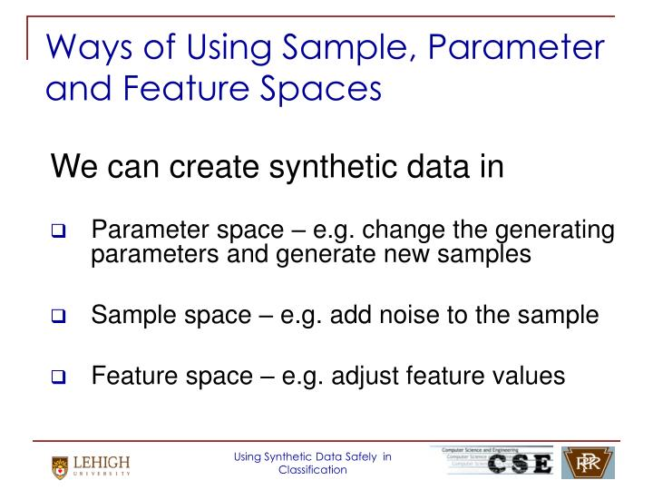 Ways of Using Sample, Parameter and Feature Spaces
