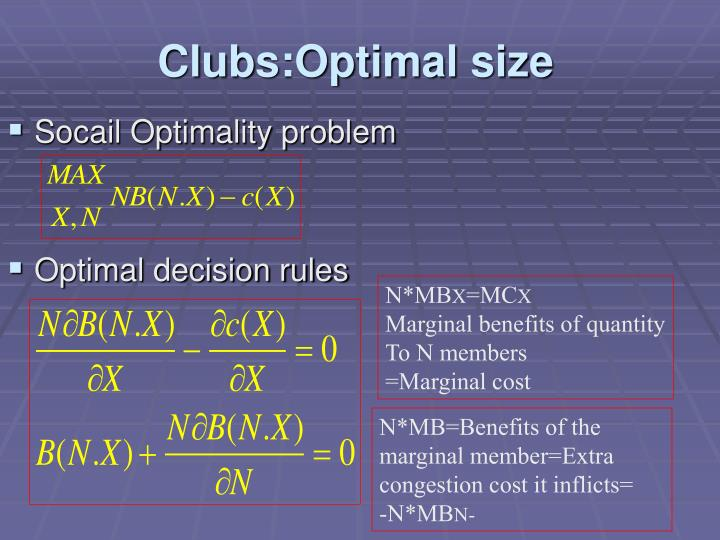 Clubs optimal size