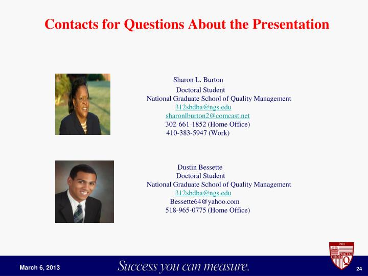 Contacts for Questions About the Presentation