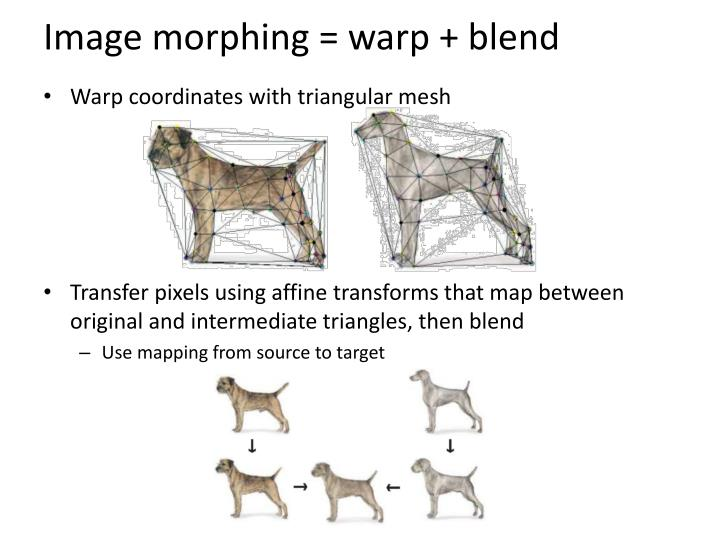Image morphing = warp + blend