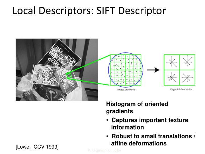 Local Descriptors: SIFT Descriptor