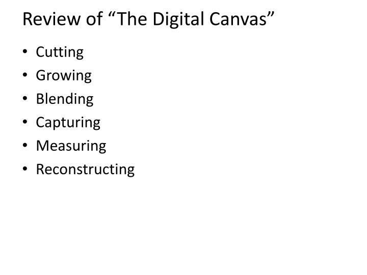 Review of the digital canvas