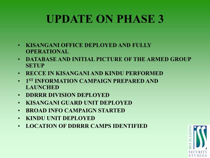 UPDATE ON PHASE 3