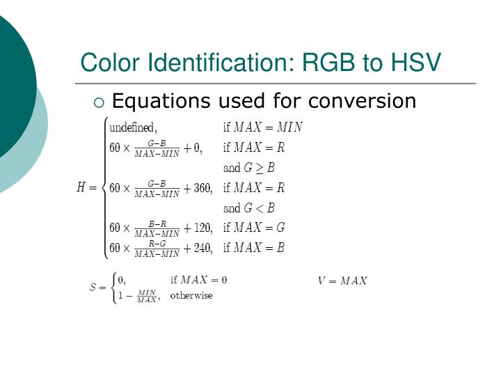 Color Identification: RGB to HSV