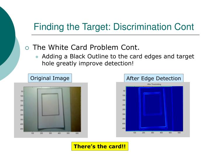 Finding the Target: Discrimination Cont