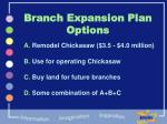 branch expansion plan options