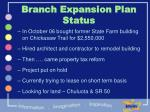 branch expansion plan status