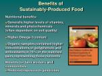 benefits of sustainably produced food