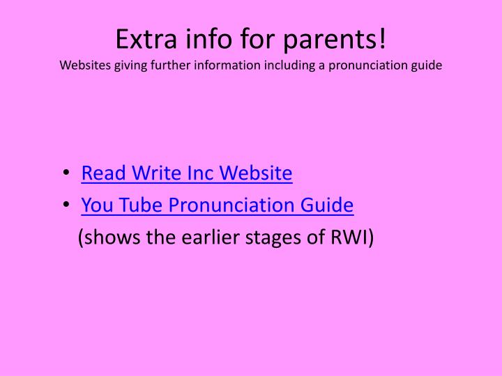 Extra info for parents!