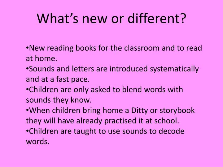 What's new or different?