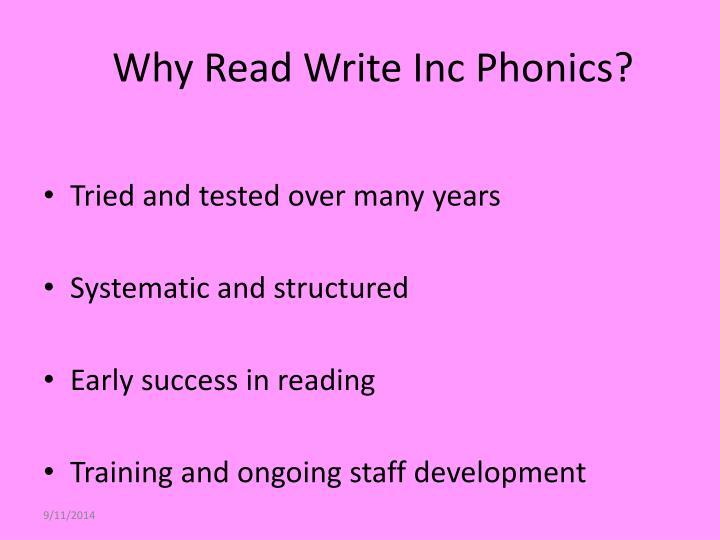 Why read write inc phonics