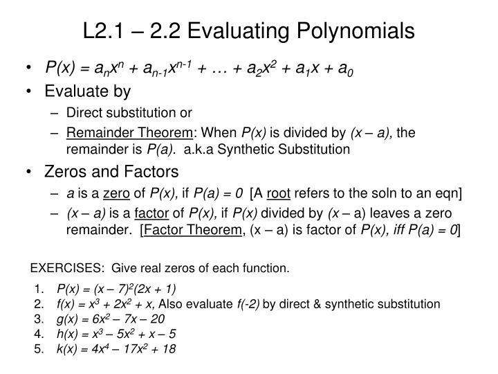 L2 1 2 2 evaluating polynomials