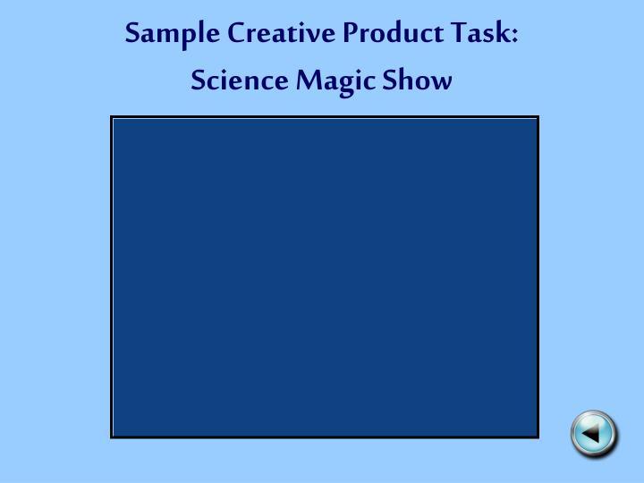 Sample Creative Product Task: