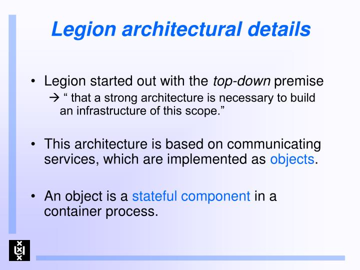 Legion architectural details