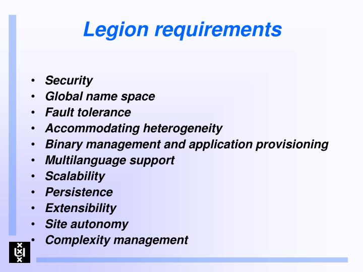 Legion requirements