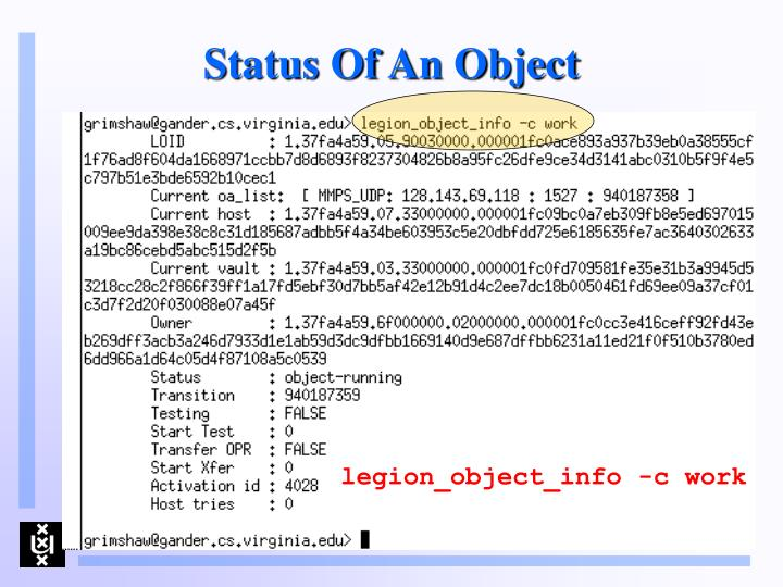 Status Of An Object